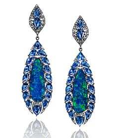 Cellini Jewelers Sapphire and Opal Drop Earrings Ear Jewelry, Jewelry Shop, Diamond Jewelry, Jewelry Accessories, Fine Jewelry, Jewelry Design, Fancy Jewellery, Fashion Jewellery, Fashion Earrings
