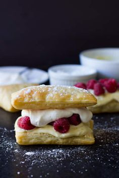 Puff pastry loaded with lemon curd cream, fresh whipped cream and plump raspberries to make a delicious Lemon Berry Napoleon