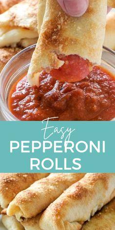 Easy Pepperoni Rolls, Pepperoni Recipes, Appetizer Recipes, Snack Recipes, Cooking Recipes, Appetizers, Pizza Recipes, Yummy Recipes, Pizza Snacks