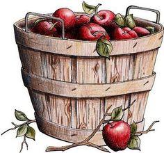 Fruit basket illustration album Ideas for 2019 Fall Clip Art, Apple Baskets, Apple Varieties, Apple Art, Fruit Art, Digi Stamps, Food Illustrations, Painted Rocks, Furniture