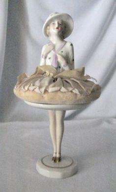 Striking Porcelain Flapper Half Doll or Pin Cushion Powder Puff & Pedestal Legs | eBay