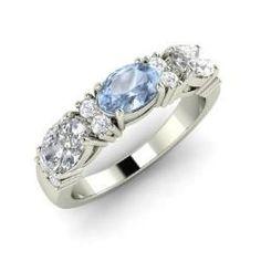 Rings - Esmerna - Aquamarine Ring in 14k White Gold with VS Diamond, SI Diamond (1.57 ct.tw.)