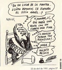Viñeta de Cervantes escribiendo El Quijote