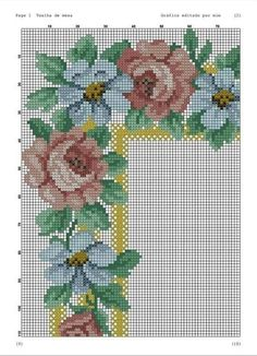 Cross Stitch Borders, Cross Stitch Rose, Cross Stitch Flowers, Bargello, Decoupage, Diy And Crafts, Projects To Try, Embroidery, Knitting