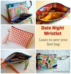 Love this pattern for beginners. Simple wristlet purse with a few nice features such as a padded pocket and a place for cards too.pattern for purchase Sewing Patterns Free, Free Sewing, Bag Patterns, Sewing Hacks, Sewing Tutorials, Sewing Tips, Sewing Basics, Leftover Fabric, Sewing Projects For Beginners