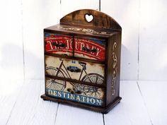 Mini chest drawers Bicyclejewelry organizerWords by Alenahandmade
