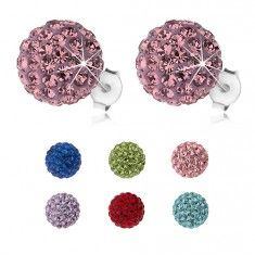 925 ezüst fülbevaló, csillogó golyók Preciosa kristályból, 10 mm