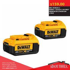 Get the DEWALT - DCB204-2 20V MAX* PREMIUM XR LITHIUM ION 2-PACK for just $159.00  #DealOfTheDay Order: http://www.adam-tools.com/dcb204-2-20v-max-premium-xr-lithium-ion-2-pack.html #canada #mississuaga #power_tools #building_supplies #adamtools #shop_online #buy_online #Powertools #tools #Dewalt #DCB204-2