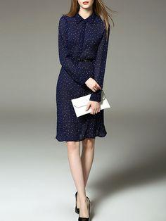 Polka Dots Chiffon Midi Dress