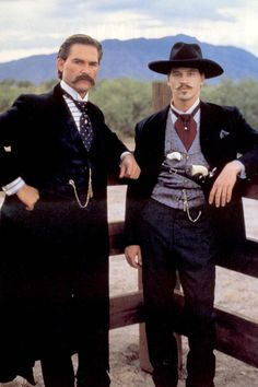 """Kurt Russel and Val Kilmer as Wyatt Earp and Doc Holliday in """"Tombstone."""" Favorite Doc Holliday line is """"I'll be your huckleberry."""" For me, this was Val Kilmer's best film, and he was the best Doc Holliday ever! Old West, Movies Showing, Movies And Tv Shows, Tombstone 1993, Tombstone Quotes, Kurt Russell Tombstone, Wyatt Earp Tombstone, Doc Holliday Tombstone, Tombstone Pictures"""
