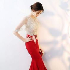 Chic / Beautiful Red With Shawl Evening Dresses 2019 Trumpet / Mermaid Beading Rhinestone Lace Flower Scoop Neck Sleeveless Ankle Length Formal Dresses Evening Dresses, Formal Dresses, Lace Flowers, Trumpet, Ankle Length, Shawl, Beading, Scoop Neck, Mermaid