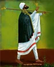 Ethiopian art: A beautiful painting of Saint Yared. Yared was a semi-legendary Ethiopian musician credited with inventing the sacred music tradition of the Ethiopian Orthodox Church and Ethiopia's system of musical notation. He is responsible for creating the Zema or the chant tradition of Ethiopia, particularly the chants of the Ethiopian Orthodox Tewahedo Church, which are still performed today. He is regarded as a saint of the Ethiopian Orthodox Church with a feast day of 11 Genbot (May…