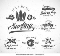 Vector Retro Style Surfing Labels, Logo Templates or T-shirt Graphic Design Featuring Surfboards, Woodie Car, Motorcycle Silhouette, Helmet. Good for Posters, Cards. With Shabby Textures. Isolated. - stock vector
