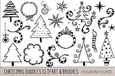 Christmas Doodles Clipart & Brushes by Colors on Paper on Creative Market