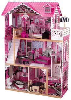 KidKraft Amelia Doll House 65093 Wooden Dollhouse, Dollhouse Furniture,  Dollhouse Toys, Barbie Doll