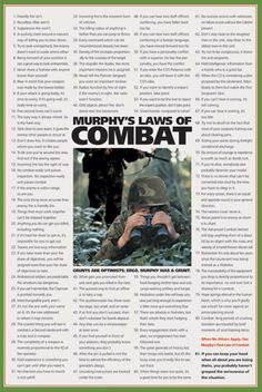 MURPHY'S LAWS OF COMBAT American Military Humor Poster - available at www.sportsposterwarehouse.com