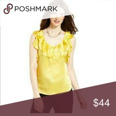 Tahari By Asl Top Sleeveless Ruffle Satin Blouse Color:  Yellow  Size:  Medium (true to size)  Material:  Polyester  Condition:  New with tags Tahari Tops Blouses