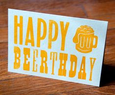 Happy Beerthday  Letterpress Birthday Card by livingletterpress, $3.00