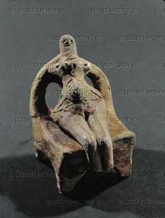 Neolithic figure seated on a throne. Terracotta. From Kalekovec, Bulgaria. Karanovo Culture, Neolithic (6th-5th millennia BCE)  Archaeological Museum, Plovdiv, Bulgaria