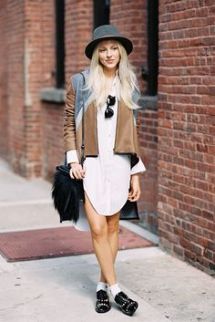To conquer summer street style forget your pants and wear your tunics as dresses, with shorts underneath.