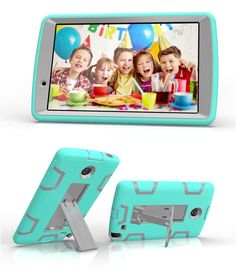 LG G Pad 2 8.0 3in1 Case, G Pad F 8.0 V498 Case, Yxim Colorful Fashion Tablet Case Full Body Silicone Plastic Cover With Built-In Kickstand (Blue Grey) >>> Check out this great product.