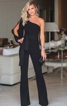 Stylish One Shoulder Slit Sleeve Jumpsuit Stylish One Shoulder Slit . Read more The post Stylish One Shoulder Slit Sleeve Jumpsuit appeared first on How To Be Trendy. Rompers Women, Jumpsuits For Women, Fashion Jumpsuits, Long Jumpsuits, Look Fashion, Fashion Outfits, Womens Fashion, Fashion Boots, 50 Fashion