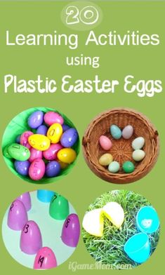 20+ kids learning activities using plastic Easter eggs - color match, alphabet, number, count, sensory, ... tons of fun ideas for kids.