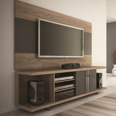 Manhattan Comfort Carnegie TV Panel in Avalon Gloss and Onyx Tv Stand And Panel, Tv Wand, Diy Tv Stand, Tv Unit Design, Entertainment Center Decor, Living Room Tv, Family Room, House Design, Entertaining