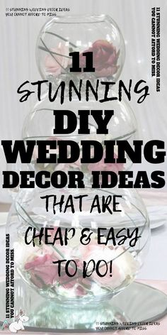 11 beautiful DIY Wedding Decor Ideas That Are Cheap & Easy To Do. If you're looking for stunning wedding decorations on a budget then you will love these DIY wedding crafts that are low cost & easy to do but are still absolutely stunning! Diy Wedding On A Budget, Diy On A Budget, Wedding Tips, Our Wedding, Wedding Planning, Dream Wedding, Low Cost Wedding, Weddings On A Budget, Wedding Stuff