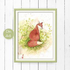 Dieses schöne Poster mit dem eleganten Fuchs ist ein Schmuckstück in jedem Raum und eine wunderschöne Geschenkideezu jedem Anlass.  Im Original wurde das Bild mit Aquarellfarben auf...