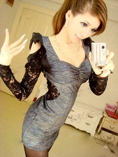 2012 New style Sexy Lace sleeve Fashion Dress  US:$10.00