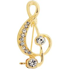 Goldtone Crystal Music Note Brooch Pin ($13) ❤ liked on Polyvore featuring jewelry, brooches, music, gold, pin jewelry, pin brooch, gold tone jewelry, crystal brooch and crystal stone jewelry