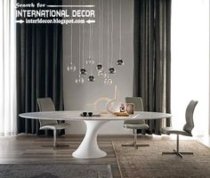 Contemporary dining room sets, table and furniture 2015 with pendant lamps