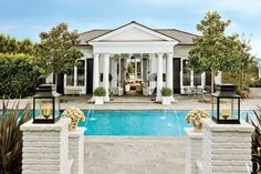 Rob Lowe's pool house with traditional Virginia architectural elements | archdigest.com