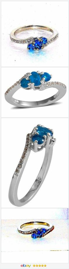 Neon Apatite and White Topaz Ring 1.00 carats Size 9 USA SELLER  | eBay  50% OFF #EBAY http://stores.ebay.com/JEWELRY-AND-GIFTS-BY-ALICE-AND-ANN