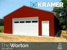 The Worton - 30 x 40 x 10 View, configure and price this building at http://www.MyPoleBuilding.com/