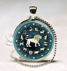 Leo Necklace Zodiac Jewelry Astrological Sign Lion July August Birthday Astrology Art Pendant with Ball Chain Included (ITEM B115) by MissingPiecesStudio on Etsy
