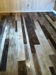 wood look concrete acid stain this is how want to do my floors in my garage  I love this!!! Concrete Overlay, Acid Stained Concrete Floors, White Concrete, Stamped Concrete, Acid Stain Concrete, Concrete Staining, Cement Floors, Decorative Concrete, Concrete Wood