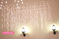 The charm of a lamp made with Christmas lights.