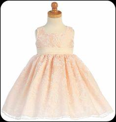 Girls Blush Pink Formal Dress w. Floral Burnout & Polysilk Sash