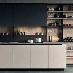 44 Inspiring Design Ideas for Modern Kitchen Cabinets - The Trending House Kitchen Room Design, Kitchen Dinning, Kitchen Cabinet Design, Kitchen Sets, Modern Kitchen Design, Home Decor Kitchen, Interior Design Kitchen, Kitchen Furniture, Home Kitchens