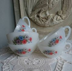 Items Similar To Vintage Arcopal Cafe Au Lait Bowls And Coffee Cups French Breakfast With Flowers Design On Etsy