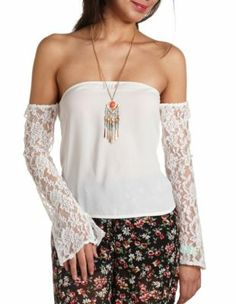 lace sleeve off-the-shoulder top  charlotterusse.com