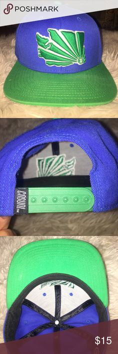 Casual Industrees WA Brah SnapBack The WA Brah is an adjustable snapback hat from Casual Industrees featuring a quality embroidered Washington State Casual Industrees logo on the front and Casual logo on the back and inside. Great for male and female Washington state lovers, or even fans of blue and green :) Used rarely, in great condition! Comes w/ a free gift! Casual Industrees Accessories Hats