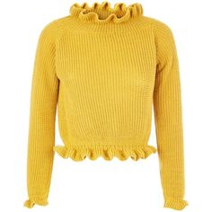 Cameo Rose Yellow Frill Neck Edge Jumper (105 RON) ❤ liked on Polyvore featuring tops, sweaters, long sleeves, yellow jumper, yellow sweater, jumpers sweaters, rosette top and cameo top