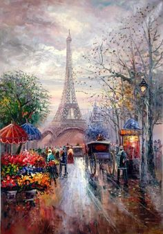 Looking Paris we realise how ideas,dreams become real.Eiffel had that idea once in his mind and now we can enjoy the Tour Eiffel each time we are in beautiful Paris! Paris Painting, Oil Painting Flowers, Watercolor Flowers, Painting Art, Painting Wallpaper, Painting Lessons, Eiffel Tower Painting, Paris Wallpaper, Paris Pictures