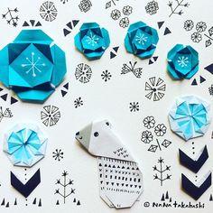 シロクマさーん。セーターはもういらんね〜(*^^*) Polar bear. Take off your sweater.  #origami  #polarbear  #paperflower #papercraft #illustration #nanatakahashi  #sweater  #折り紙  #お花 #ペーパークラフト #イラスト #おりがみ #お花 #しろくま  #セーター #たかはしなな
