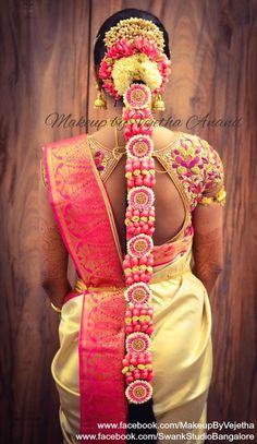 South Indian Wedding Hairstyles, Bridal Hairstyle Indian Wedding, Bride Hairstyles, Flower Braids, Bridal Braids, Braid Designs, Bridal Blouse Designs, Indie, Hair Decorations