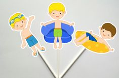 Pool Party Cupcake Toppers, Swimming Cupcake Toppers, Swim Party Cupcake…