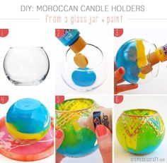 DIY - moroccan candle holders from a plain glass jar. Glass jar, candle holder or bottle Upcycled Crafts, Diy And Crafts, Homemade Crafts, Candle Holder Decor, Glass Candle Holders, Candle Craft, Jar Candle, Diy Craft Projects, Craft Ideas